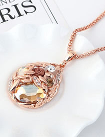 Fashion Pale Yellow Hollow Sweater Chain With Diamonds And Diamonds