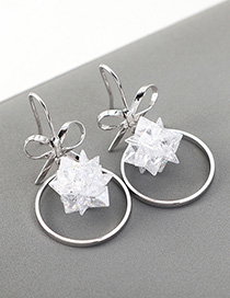 Fashion White Snowflake Circle Earrings With Zircon Bow