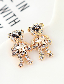 Fashion Golden Phantom Crystal Pentagram With Diamond Earrings