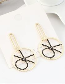 Fashion 14k Gold  Silver Pin Plated Diamond Earrings