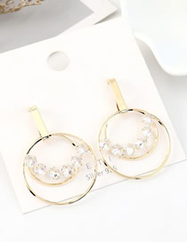 Fashion 14k Gold S925 Silver Pin Gold Plated Large Circle Hollow Diamond Earrings