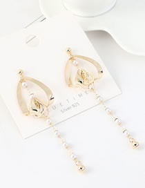 Fashion 14k Gold  Silver-plated Real Gold Tassel Long Peach Heart Pearl Earrings