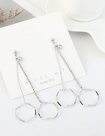 Fashion Platinum S925 Silver Pin Plated Gold Tassel Double Circle Hollow Earrings