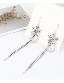 Fashion Platinum Gold-plated Fringed Earrings With Small Flowers