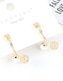 Fashion 14k Gold S925 Silver-plated Pearl Ball Earrings