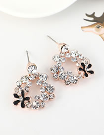 Fashion Rose Gold Flower Stud Earrings With Rhinestones