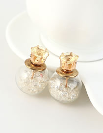 Fashion White Gold-plated Earrings With Rhinestones