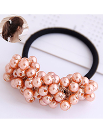 Fashion Rose Gold Ball Bud Pearl Woven Hair Rope