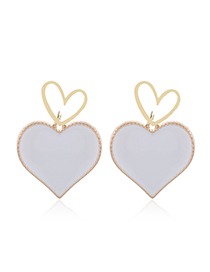 Fashion White Contrasting Love Alloy Stud Earrings