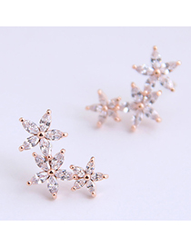 Fashion Rose Gold 925 Silver Stud Earrings With Rhinestone Flower Alloy