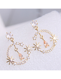 Fashion Golden 925 Silver Pin Alloy Stud Earrings With Moon And Star
