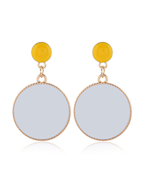 Fashion White Metal Drip Oil Color Round Earrings