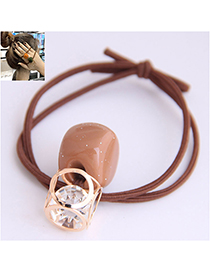 Fashion Brown Metal Square Hollow Street Elastic Rubber Band