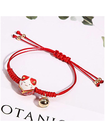 Fashion Red Ceramic Lucky Cat Bell Braided Rope Adjustable Bracelet