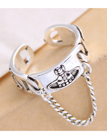 Fashion Silver Chain Geometric Openwork Ring