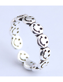 Fashion Silver Smiley Openwork Open Ring