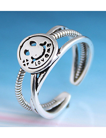 Fashion Silver Letter Cutout Smiley Open Ring