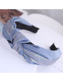 Fashion Light Blue Knotted Stitching Color Hairband