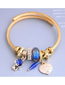 Fashion Royal Blue Cat Love Rhinestone Letters And Pentagram Bracelet
