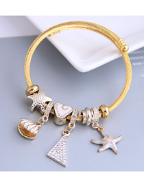 Fashion White Dripping Oil And Diamond Starfish Shell Alloy Bracelet