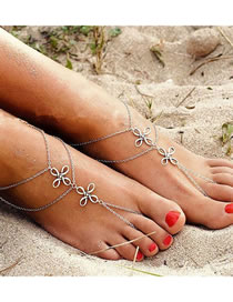 Fashion Silver Alloy Four Leaf Clover Hollow Anklet