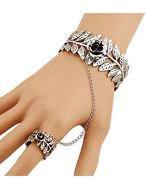 Fashion Silver Rose Flower Leaf Open Chain Ring Bracelet
