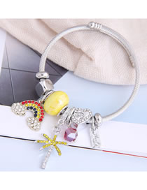 Fashion Yellow Rainbow Diamond Drop Love Heart Bangle