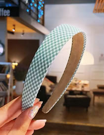 Fashion Green Houndstooth Printed Cloth Clothing Wide-brimmed Headband