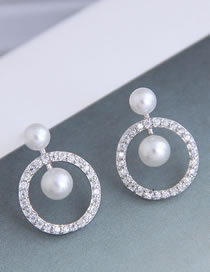 Fashion Silver Micro-set Zircon Pearl Geometric Round Hollow Earrings
