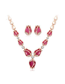 Fashion Red Tulip Opal Alloy Diamond Necklace Earring Set