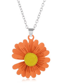 Fashion Orange Small Daisy Contrast Alloy Necklace