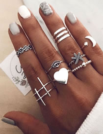 Fashion Silver Love Starfish Eye Geometric Alloy Ring Set