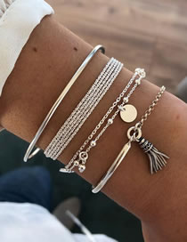 Fashion Silver Chain Tassel Round Alloy Multi-layer Bracelet