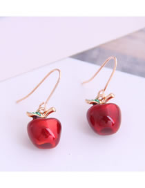 Fashion Red Red Apple Alloy Drop Earrings