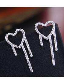 Fashion Silver Carved Drop Earrings With Diamond Pierced Earrings
