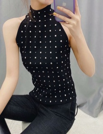 Fashion Black Studded Halter Neck Knit Vest