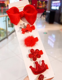 Fashion Red Bow And Diamond Flower Crown Children's Hair Clip Set