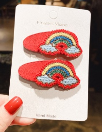 Fashion Red 1 Pair Rainbow Knit Leather Contrasting Children's Hair Clip