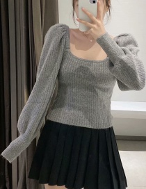 Fashion Gray Round Neck Lantern Sleeve Knit Sweater