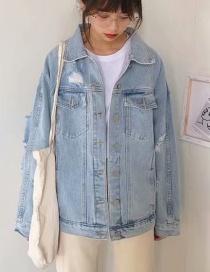 Fashion Blue Embroidered Denim Jacket