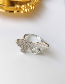 Fashion Silver Micro Open Diamond Butterfly Ring