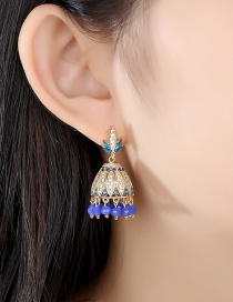 Fashion Golden Bell Copper Inlaid Zirconium Earrings