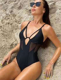 Fashion Black V Support Mesh Stitching Cutout Swimsuit