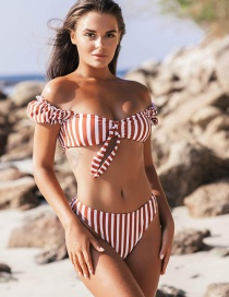 Fashion Red Striped Print Puff Sleeve Bow Split Swimsuit