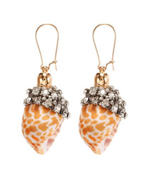 Fashion Red Brown Conch Conch Alloy Earrings With Diamonds