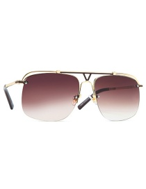 Fashion Golden Frame Double Tea Double Beam Hollow Alloy Sunglasses