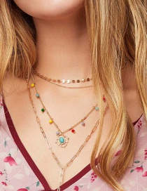 Fashion Golden Alloy Turquoise Resin Hollow Multilayer Necklace