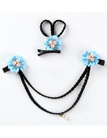 Fashion Blue 2 Piece Set Pearl Woven Flower Wig Children's Hairpin Set With Diamonds
