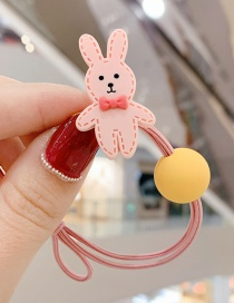 Fashion Pink Bow Tie Bunny Ball Hit Color Knotted Hair Rope