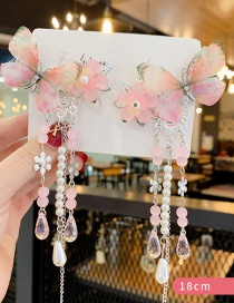 Fashion Pink 1 Pair Resin Flower Butterfly Pearl Children's Long Hair Clip